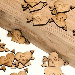 Personalised Wooden Heart & Arrow Decorations, Rustic, Vintage Wedding Favours.