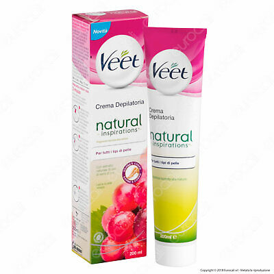 Veet Crema Depilatoria Natural Inspirations Per Tutti i Tipi di Pelle - 200 ml