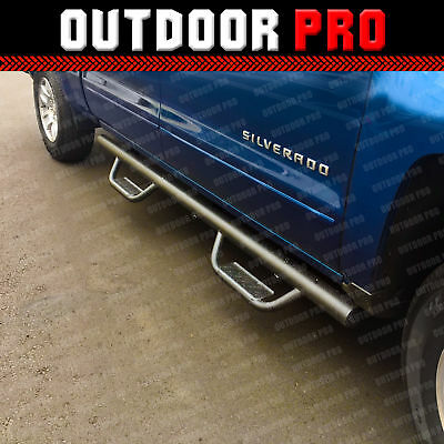 """For 07-18 Chevy Silverado Crew Cab 4/"""" Nerf Bar Running Boards Side Step S//S A"""