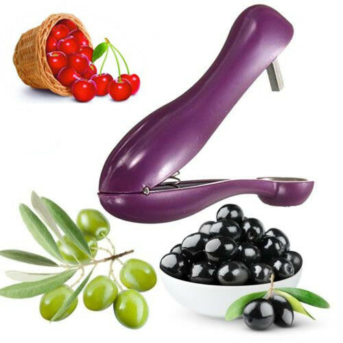 New Cherry Pitter Olives Pits Stoner Removal Core Easy Squeeze Grip Kitchen Tool