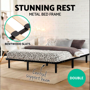 Strong-Metal-Bed-Base-Frame-Size-Timber-Bentwood-Slat-Support-Bedroom-DOUBLE