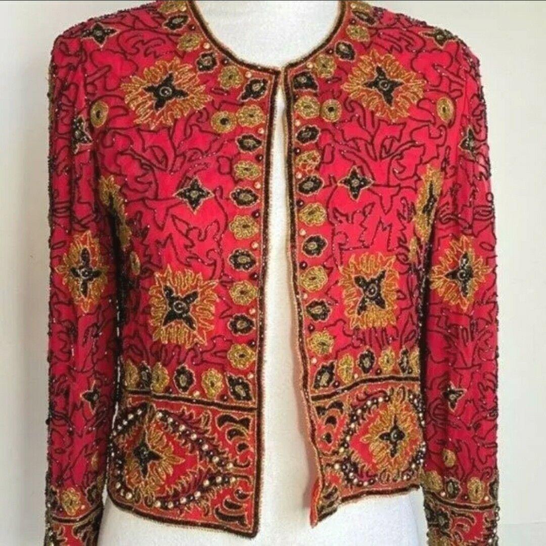☀ Adrianna PAPELL Evening Beaded Jacket sz L * VINTAGE Red Gold Black 100% Silk