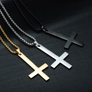 Mens-Stainless-Steel-Pendant-Necklace-Inverted-Cross-Upside-Down-Cross-Jewelry