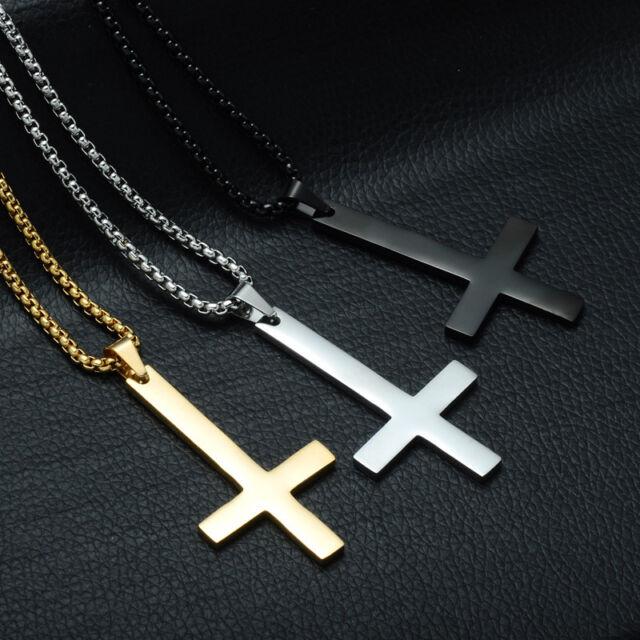 "Upside Down Cross Devil Inverted Satanic Black Metal Pendant 18/"" Goth Necklace"