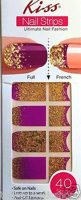 Kiss Nail Stick on Applique Strips French or Full 40 Strips # DMT 179 Raspberry