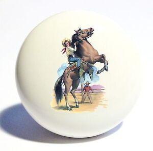COWBOY COWGIRL HORSE HOME DECOR CERAMIC KITCHEN KNOB DRAWER CABINET PULL