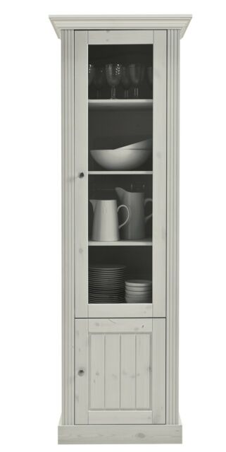 STEENS Massivholz Vitrine Breite 63 cm MONACO Landhausstil Kiefer White-Wash