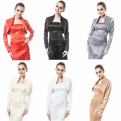 New Womens Wedding Prom Satin Bolero Shrug Jacket Stole Long Sleeve Uk Size 6-28 Hindernis Entfernen