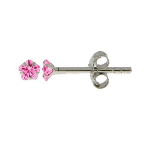 Boucles Oreilles Puce Fleur Diamant Cz Rose 3 mm Argent Massif 925