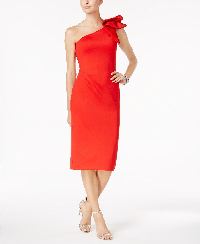 309 BETSY & ADAM Women RED Ruffle ONE-SHOULDER ASYMMETRICAL SHEATH DRESS SIZE 4