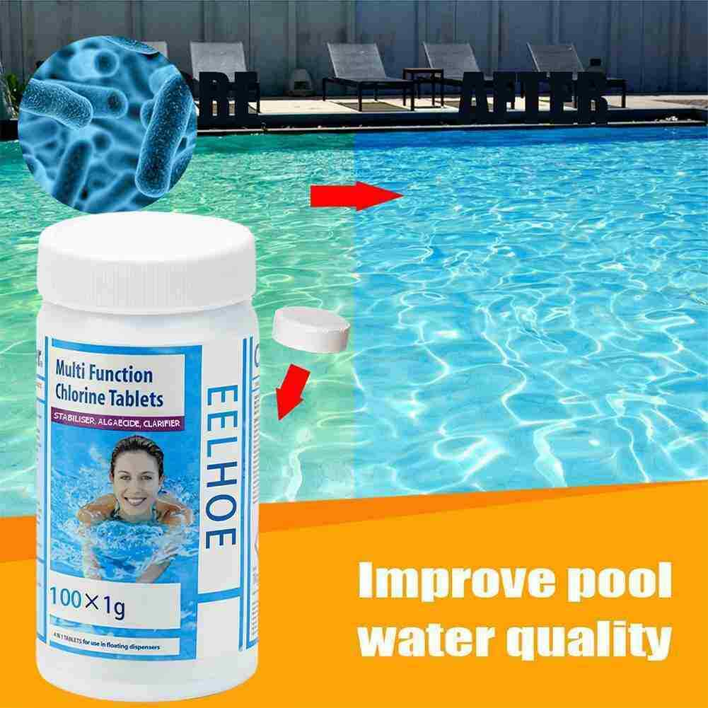 100 Pieces Chlorine Tablets Swimming Pool Cleaning Cleaner White