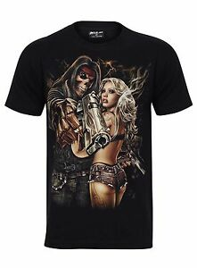 New Men Gothic  T-shirt (BLOND LADY/GUN/GRIMR<wbr/>EAPE) Glow In Dark Both Side Print