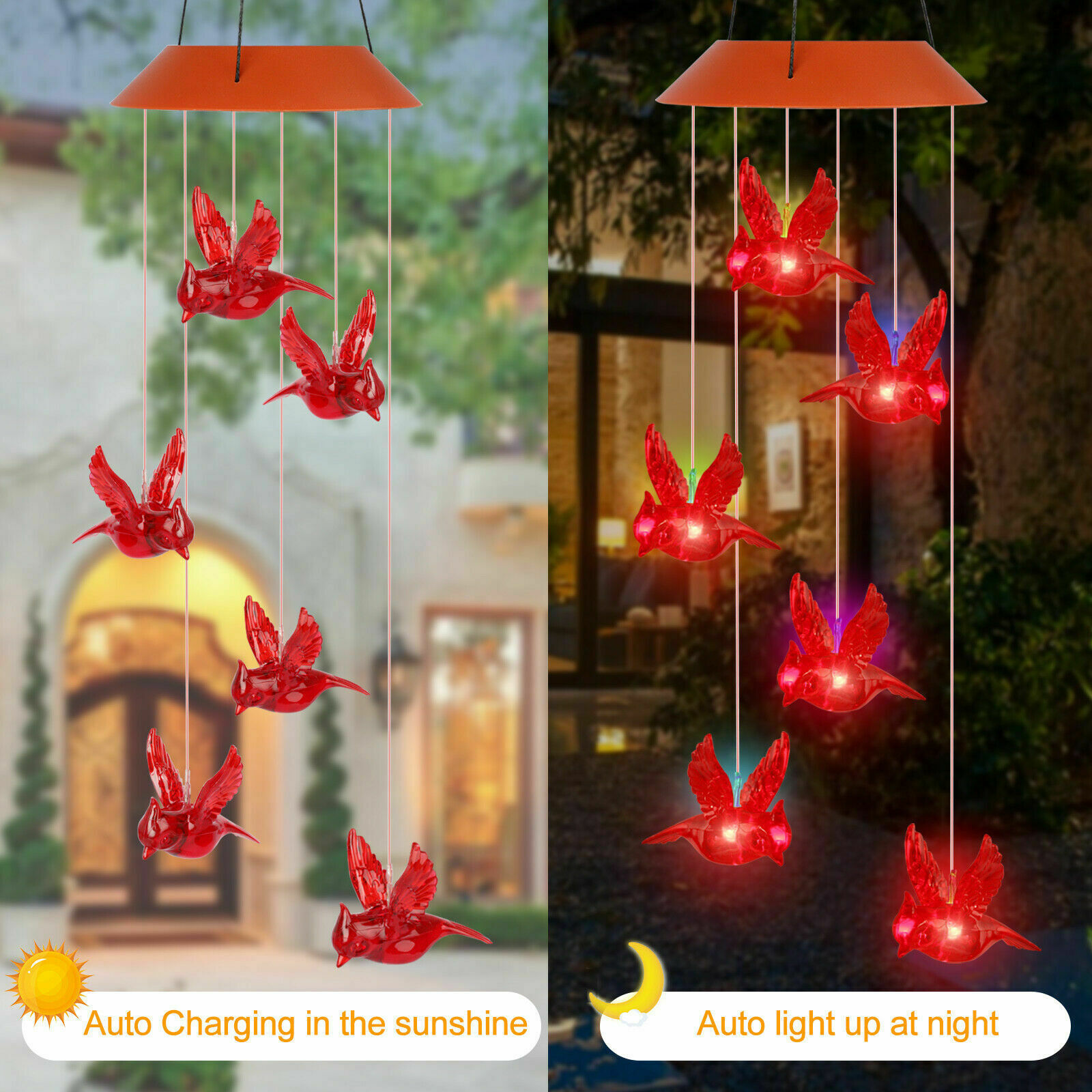 LED Solar Powered Red Cardinal Bird Wind Chime Color-Changing Light Yard Decor