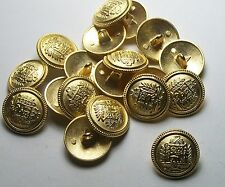 Pack of 8 15mm Spanish Itailian Gold Metal Military style Button   2013