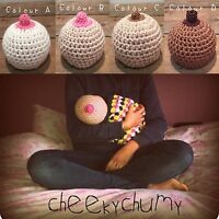 Fun crocheted boobie beanie, breastfeeding hat. Baby shower gift. Size 6-12Month
