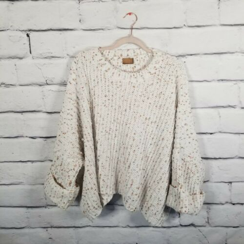 POL Sz Large Multicolor Chunky Knit Cropped Pullov