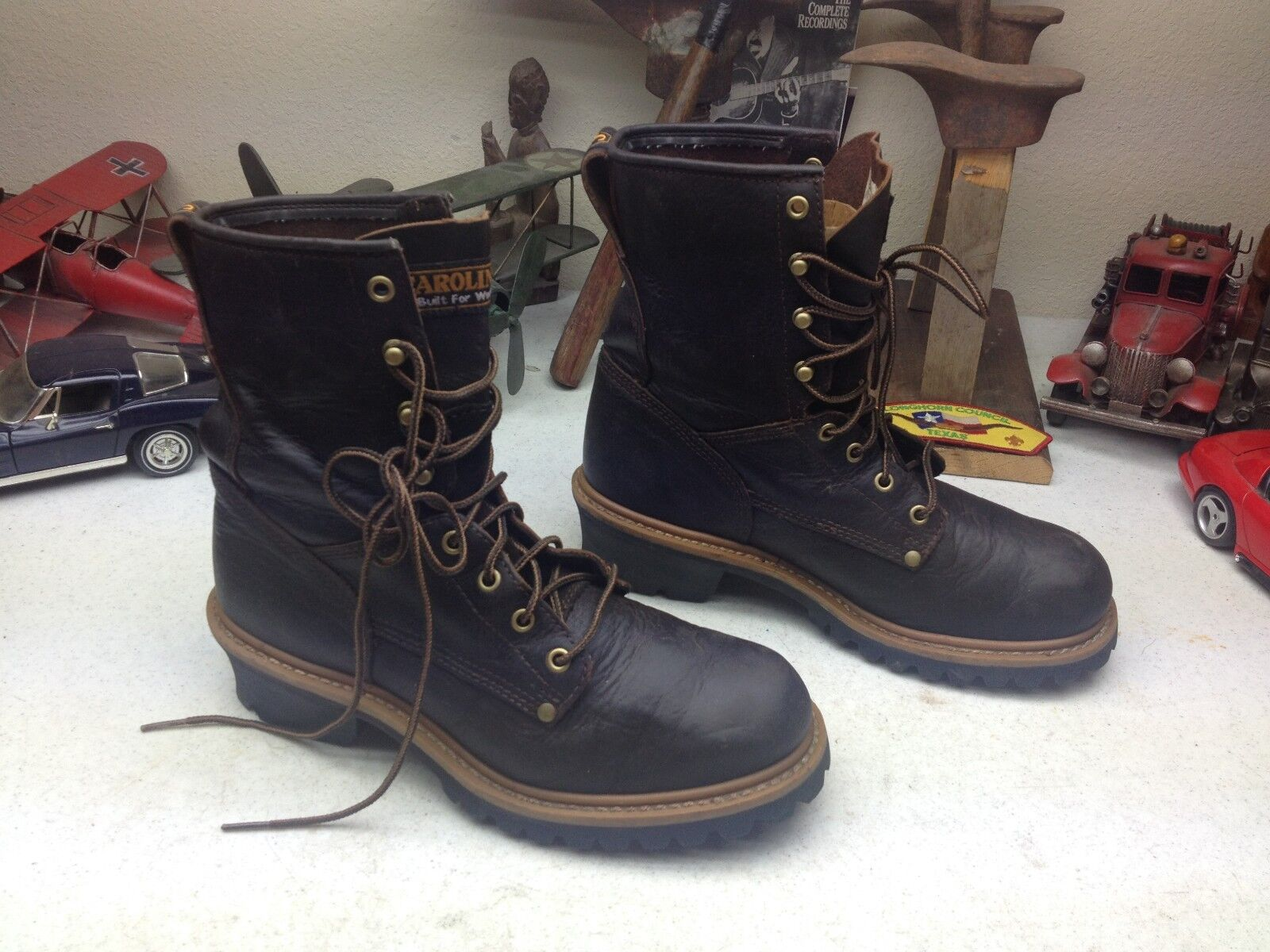 CAROLINA BROWN LEATHER CHORE LACE UP ENGINEER BOSS LOGGER WORK CHORE LEATHER PACKER BOOTS 9 D edae1c