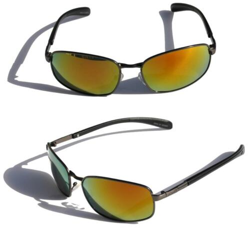 Matte black metal Polarized sunglasses with fire Mirror Lens fishing anti-glare