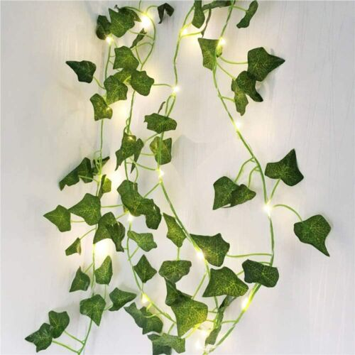 2M LED Christmas Artificial Green Leaf Vine String Fairy Lights Xmas Party Decor