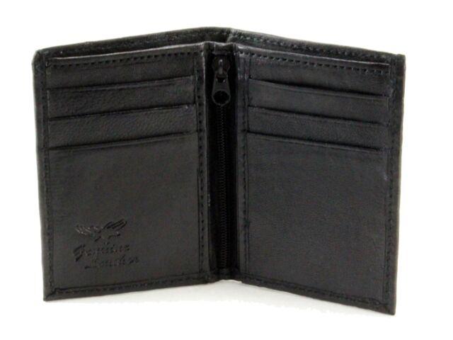 New Slim Thin Mens Bifold Genuine Leather ID Wallet Black Credit Card Holder 760