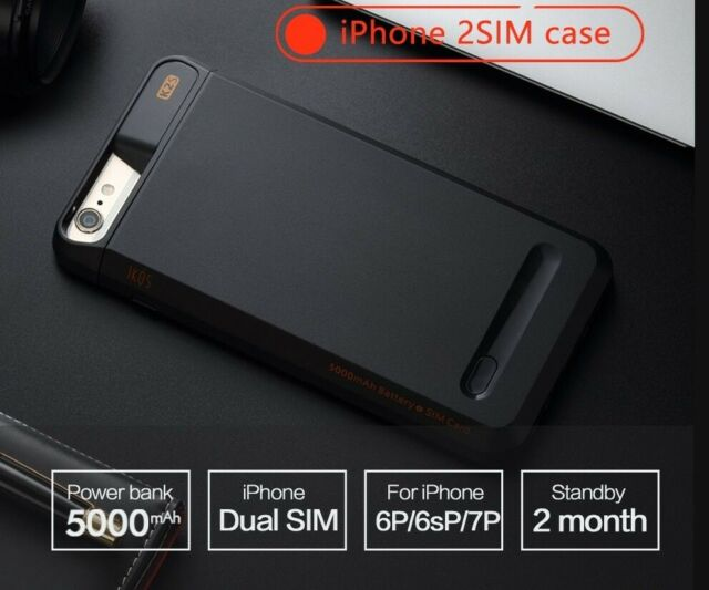 Dual SIM Dual Standby Phone Case Adapter+5000mAh Power Bank Smart Protect  Cover