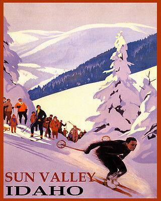 POSTER WINTER SPORT SUN VALLEY IDAHO SKI MOUNTAINS SKIING VINTAGE REPRO FREE S//H