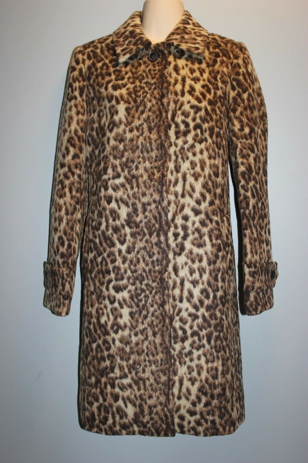 49e3410e9c NEW J CREW LEOPARD Wool Topcoat SIZE 6 H2734 FALL 2017 Womens Coat ...