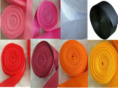 3-10Yrds 1 Inch Nylon Webbing Strapping Lots Color-Choosing Red Pink 25mm