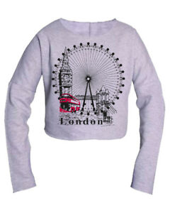LONDON-roue-Pullover-sweat-shirt-Souvenir-Cadeau-Crop-Top-Chemisier-Casual-Fashion