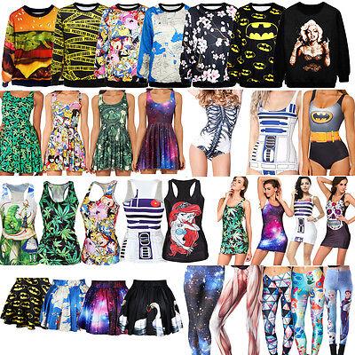 HOT! Women Costume Digital Printed One Piece Bikini Tank Top Short Skirt Dresses