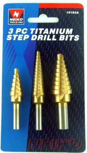"New 3 Peice set in 1//16/"" Increments Titanium Step Drill Bits NEIKO 10193A"