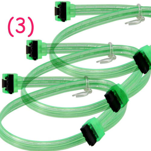 3x Coboc SATA 3 Right Angle Cable SATA III 6 Gbps 18 Inches UV-Green Male-Male