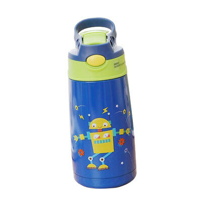 400ml Child School Water Bottle Insulated Cup with Straw Outdoor Sky Blue