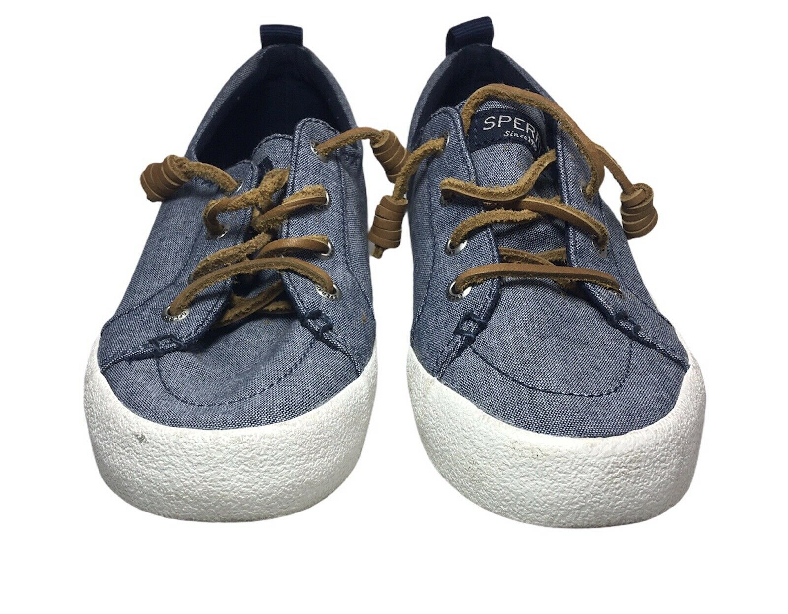 Sperry Crest Vibe Womens 6M US Blue Linen Sneaker Rawhide Lace Up