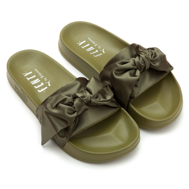PUMA Womens Fenty by Rihanna Green Bow Slide 36577401 Sandals Shoes ... 4ad8c321dcc8