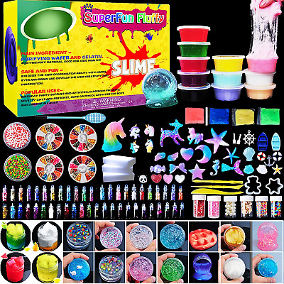 Unicorn DIY Slime Kit Supplies 6 Cloud Clear 3 Jelly Cube 5 55 Glitter 4 Magic C