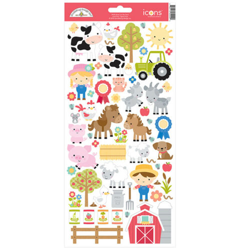 Doodlebug Design Down on the Farm Cardstock Stickers Icons 5929
