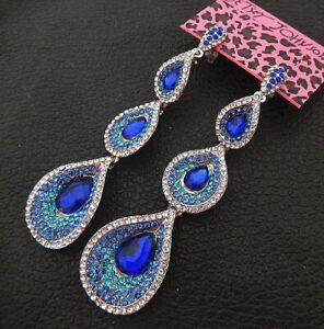 Women-039-s-Blue-Clear-Crystal-Rhinestone-Teardrop-Betsey-Johnson-Dangle-Earrings
