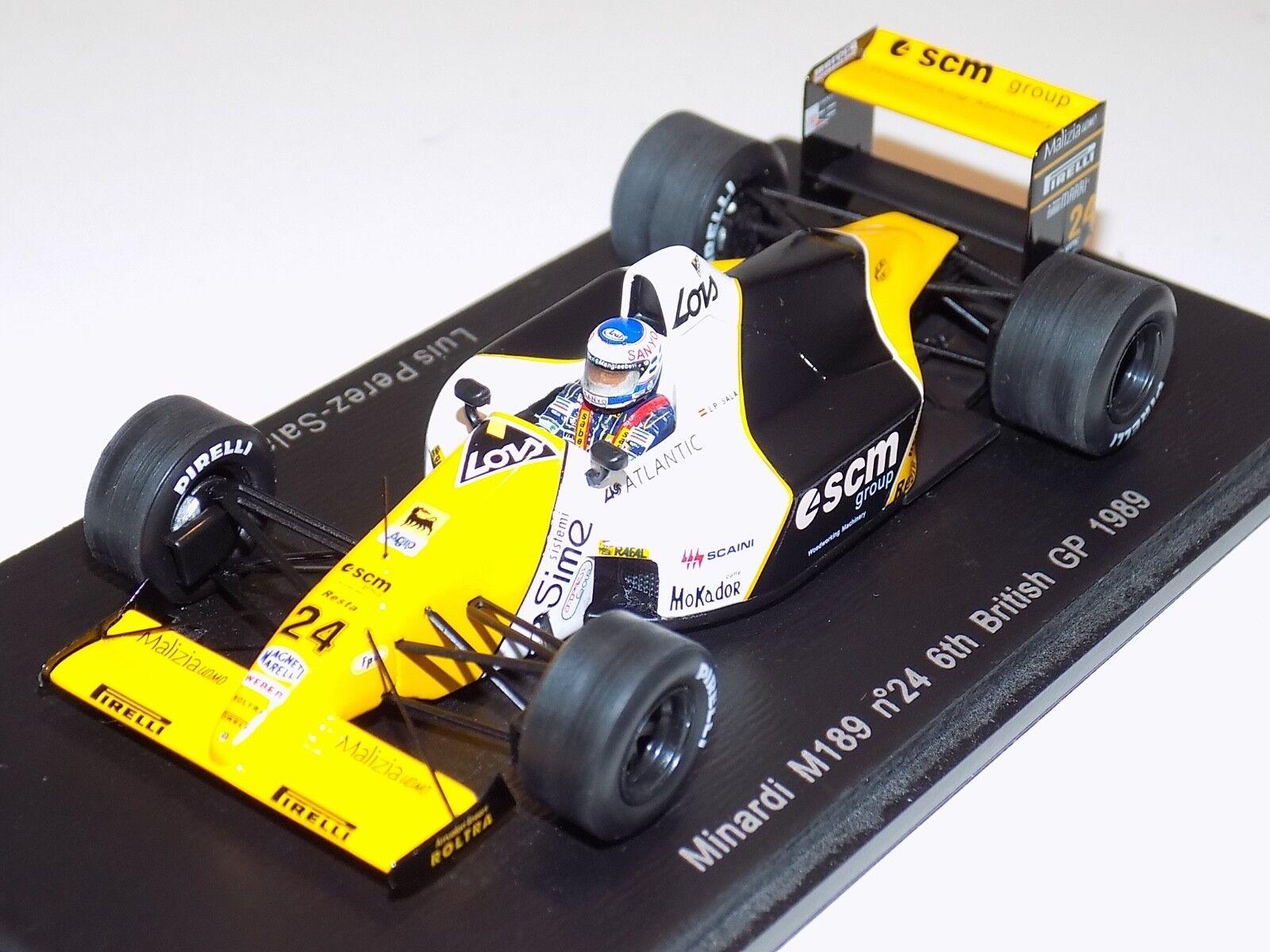 1 43 Spark Minardi M189 voiture  24 6th en 1989 British Grand Prix Luis P. Sala S4111