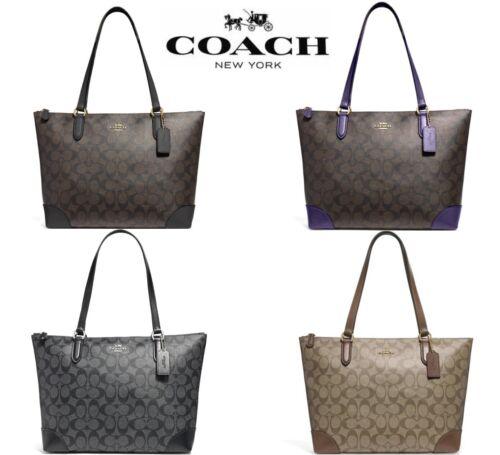 New Authentic Coach F29208 Top Zip City Tote Signature Handbag Khaki Brown Black