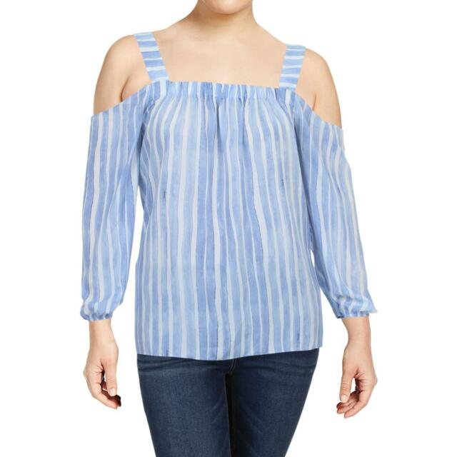 36a9f73c24449 Vince Camuto Womens Blue Day To Night Cold-Shoulder Blouse Top Plus 1X BHFO  5863