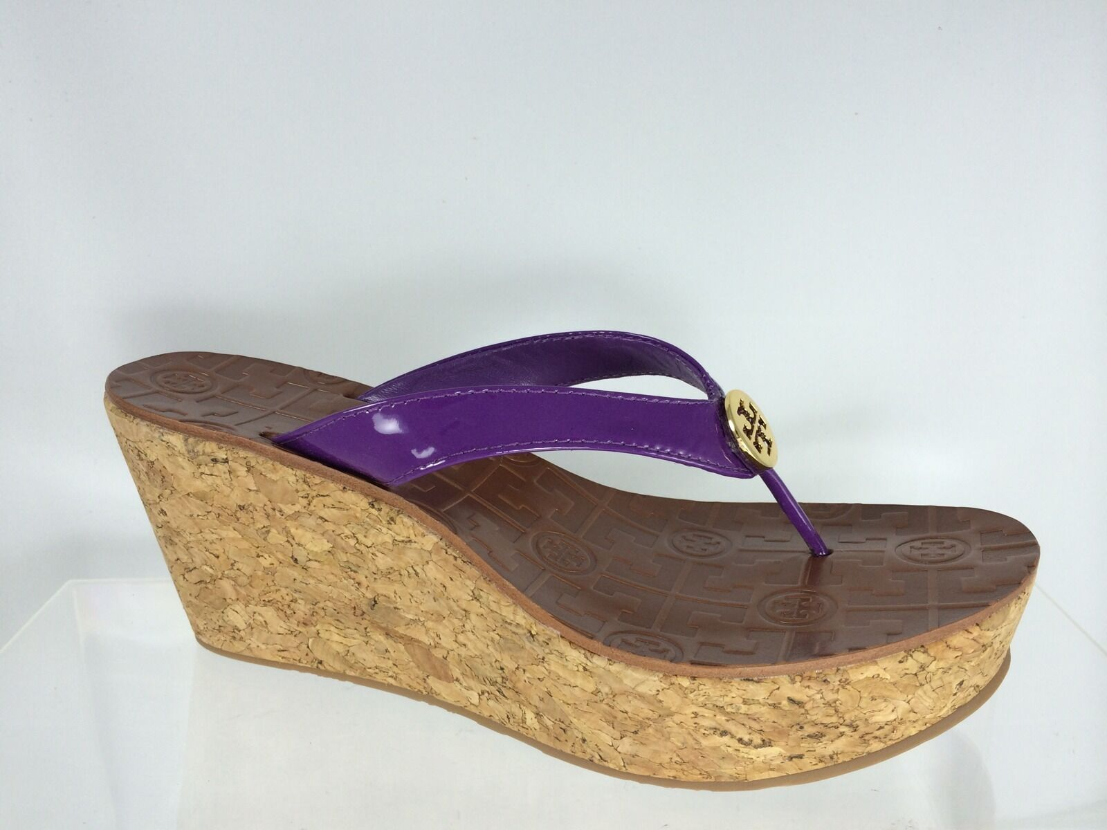 Tory Burch Wouomo viola Patent Leather Wedge With oro Logo scarpe 9.5