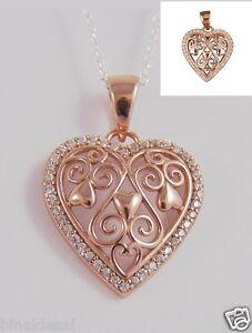 925-Argento-Sterling-Filigrana-Oro-Rosa-P-CZ-ciondolo-CUORE-anniversario-amore-regalo