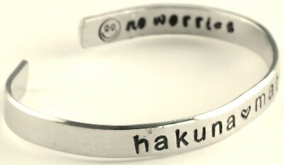 hakuna matata - Hand Stamped Aluminum Cuff Bracelet Adjustable Skinny Bracelet