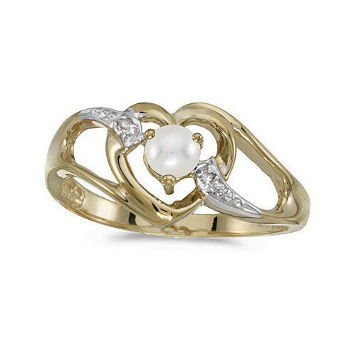 14k Yellow gold Cultured Freshwater Pearl & Diamond Heart Ring (CM-RM1336X-06)