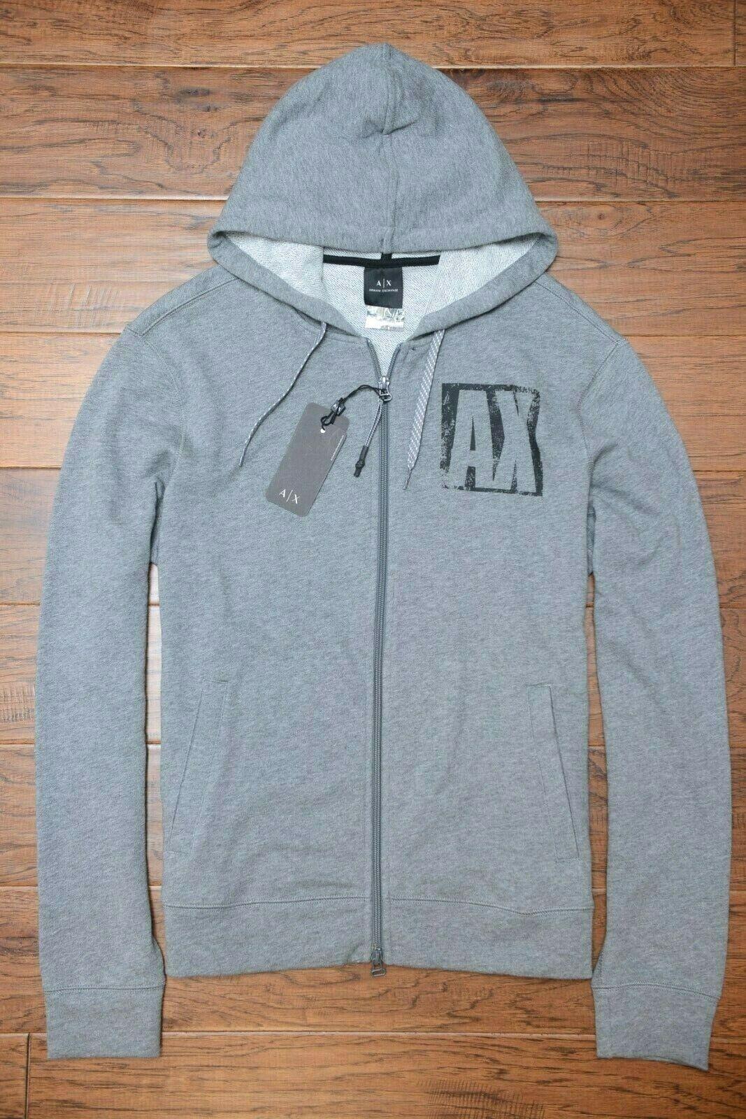 Armani Exchange A X Men's Full Zip Light Gray Cotton Hooded Jacket Hoodie S