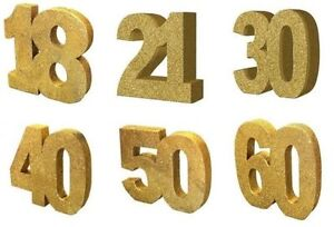 GOLD GLITTER Number TABLE Decoration Birthday Ages Party Centrepiece Decoration
