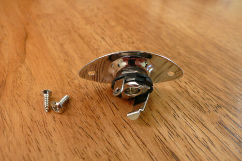 INPUT OUTPUT JACK AND PLATE CHROME OVAL FOR ELECTRIC GUITAR
