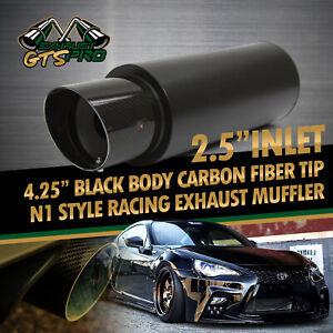 "FIT EURO CAR 1X 2.5"" N1 STYLE DEEP TONE MATTE BLACK EXHAUST MUFFLER 4.25"" CF TIP"
