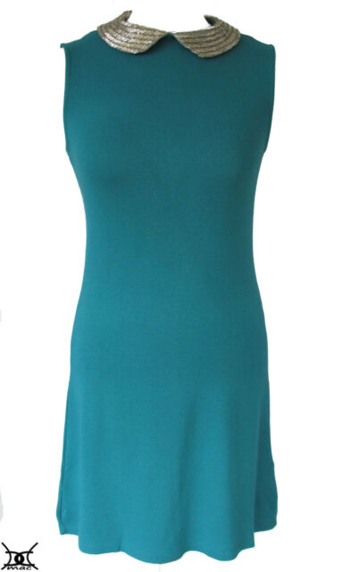 WAREHOUSE Dress Silver Beaded Collar Peter Pan Turquoise Blue Jersey *RRP £55*